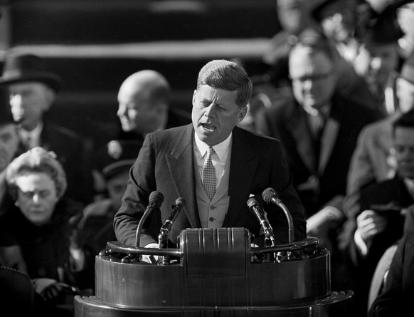FILE - In this file photo dated Jan. 20, 1961, U.S. President John F. Kennedy delivers his inaugural address at Capitol Hill in Washington, D.C., after taking the oath of office.  Wealthy senator and war hero Kennedy was 43-years old when he took the oath of office to the presidency of the United States. (AP Photo, FILE)