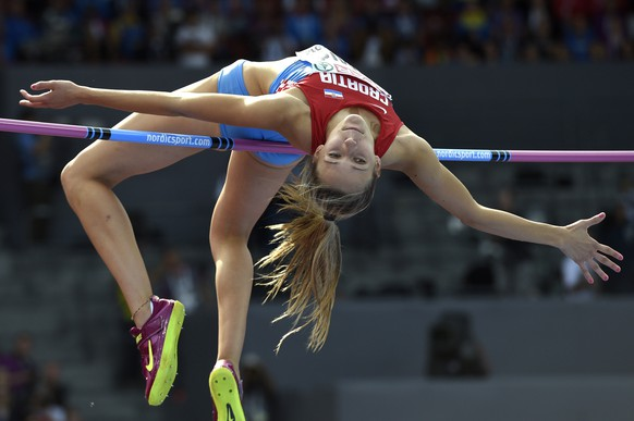 Ana Simic from Croatia competes in the women's high jump final, at the sixth day of the European Athletics Championships in the Letzigrund Stadium in Zurich, Switzerland, Sunday, August 17, 2014. (KEYSTONE/Ennio Leanza)