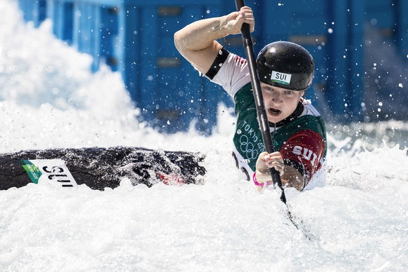 Naemi Braendle of Switzerland competes in the women's Canoe slalom semifinals at the 2020 Tokyo Summer Olympics in Tokyo, Japan, on Tuesday, July 27, 2021. (KEYSTONE/Peter Klaunzer)