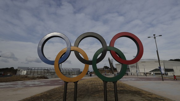 The Olympic rings are on display near the 2018 Pyeongchang Winter Olympics venues in Gangneung, South Korea, Saturday, Feb. 9, 2019. South Korea celebrates the 1st anniversary of the Pyeongchang Winter Olympics and Paralympics which were held from Feb. 9 to 25 and from March 9 to 18 in Gangwon Province last year. (AP Photo/Lee Jin-man)