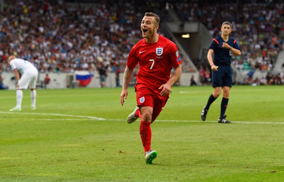 LJUBLJANA, SLOVENIA - JUNE 14:  Jack Wilshere of England celebrates scoring their second goal during the UEFA EURO 2016 Qualifier between Slovenia and England on at the Stozice Arena on June 14, 2015 in Ljubljana, Slovenia.  (Photo by Stu Forster/Getty Images)