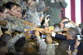 President Barack Obama shakes hands with military personnel after speaking at U.S. Central Command at MacDill Air Force Base in Tampa, Fla., Wednesday, Sept. 17, 2014. Obama is returning to Washington after visiting U.S. Central Command to be updated on the ongoing military campaigns in Iraq and Syria. (AP Photo/Phelan M. Ebenhack)