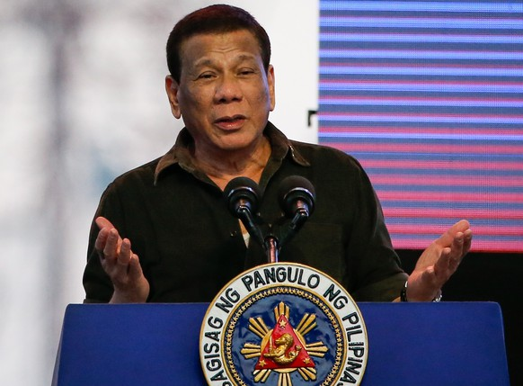 epa07369789 Philippine President Rodrigo Duterte speaks during a campaign in San Jose, Bulacan province, Philippines, 14 February 2019. Duterte attended the kickoff campaign of his senatorial bets from the Partido Demokratiko Pilipino-Lakas ng Bayan (PDP-Laban) political party in the province of Bulacan. The 90 day campaign period for national candidates has officially begun with over 60 senatorial candidates and 150 party-list groups running.  EPA/MARK R. CRISTINO