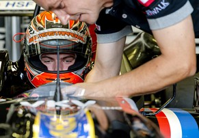 Dutch racing driver Max Verstappen, 16, son of former F1 driver Jos Verstappen (unseen), prepares prior to the Zandvoort Masters of Formula 3, The Netherlands, on July 6, 2014. Max ended up winning the race by a large margin. AFP PHOTO / ANP / SANDER KONING **netherlands out**