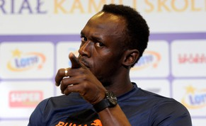 epa04361012 Jamaican sprinter Usain Bolt attends a press conference at the National Stadium in Warsaw, Poland, 20 August 2012. The Kamila Skolimowska Memorial athletics meeting will take place on 23 August.  EPA/Bartlomiej Zborowski POLAND OUT