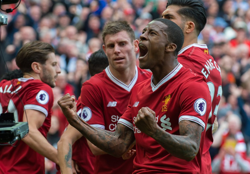epa05978966 Liverpool's Georginio Wijnaldum celebrates scoring the 1-0 opening goal during the English Premier League soccer match between Liverpool and Middlesbrough held at the Anfield in Liverpool, Britain, 21 May 2017.  EPA/PETER POWELL EDITORIAL USE ONLY. No use with unauthorized audio, video, data, fixture lists, club/league logos or 'live' services. Online in-match use limited to 75 images, no video emulation. No use in betting, games or single club/league/player publications EPA/PETER