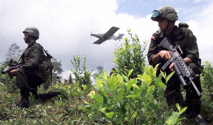 Anti-Narcotics police keep guard of a coca field as a plane fumigates the crops in Tumaco, some 360 miles southwest of Bogota, Colombia in this Sept. 12, 2000, photo.  A linchpin of the war on drugs is failing, according to key members of Congress. Despite record aerial spraying, coca cultivation in Colombia rose 26 percent last year. Even accounting for improved data gathering, the U.S.-backed Plan Colombia is far from meeting its original goal of halving coca production. From the halls of Congress to the editorial page of Bogota's main daily, pressure is mounting for the U.S. to change course (KEYSTONE/AP Photo/Scott Dalton)