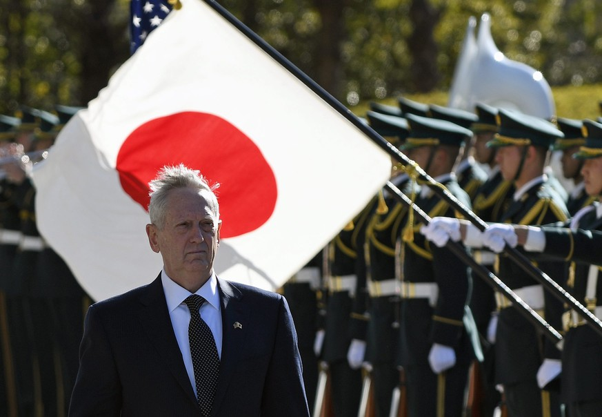 epa05769855 US Secretary of Defense James Mattis reviews the honor guard prior to a meeting with Japanese Defense Minister Tomomi Inada at the defense ministry in Tokyo, Japan, 04 February 2017. Mattis is currently on a two-day visit to Japan.  EPA/FRANCK ROBICHON