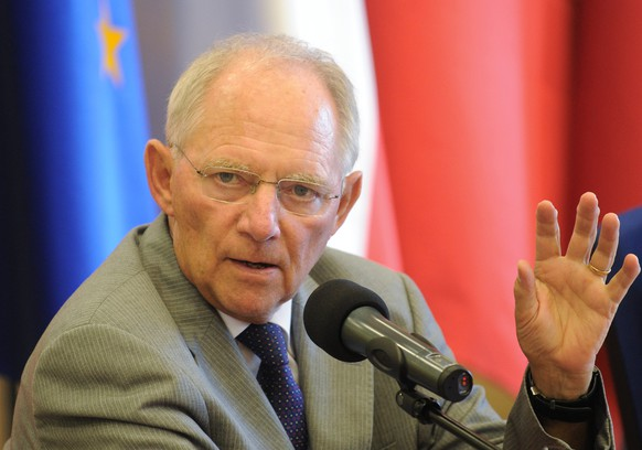 German Finance Minister Wolfgang Schaeuble speaks during a press conference after talks with his French and Polish counterparts in Warsaw, Poland, Monday, July 6, 2015. The ministers met a day after the Greek bailout referendum. (AP Photo/Alik Keplicz)