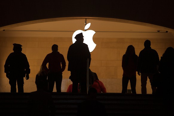A police officer is silhouetted against the Apple logo in Grand Central Terminal in the Manhattan borough of New York January 13, 2015.      REUTERS/Carlo Allegri/File Photo