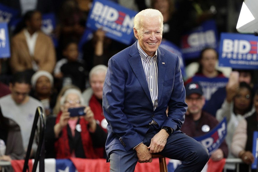 Democratic presidential candidate former Vice President Joe Biden smiles while being introduced at a campaign event at Saint Augustine's University in Raleigh, N.C., Saturday, Feb. 29, 2020. (AP Photo/Gerry Broome)