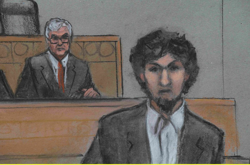 Boston Marathon bomber Dzhokhar Tsarnaev and U.S. District Judge George O'Toole (L) are shown in a courtroom sketch after Tsarnaev was sentenced at the federal courthouse in Boston, Massachusetts May 15, 2015. The jury in the Boston Marathon bombing trial on Friday sentenced Tsarnaev to death for helping to carry out the 2013 attack that killed three people and injured 264.    REUTERS/Jane Flavell Collins    NO SALES. NO ARCHIVES. FOR EDITORIAL USE ONLY. NOT FOR SALE FOR MARKETING OR ADVERTISING CAMPAIGNS.