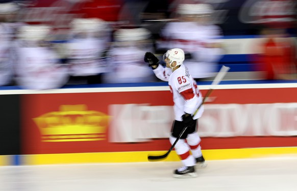 epa07594539 Sven Andrighetto of Switzerland celebrates his goal with teammates during the IIHF World Championship quarter final ice hockey match between Canada and Switzerland at the Steel Arena in Kosice, Slovakia, 23 May 2019.  EPA/MARTIN DIVISEK