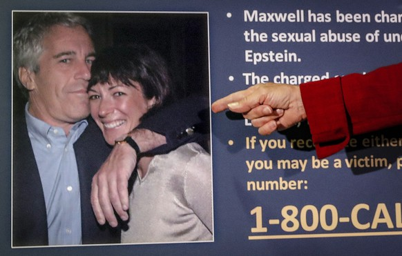 FILE - In this July 2, 2020, file photo, Audrey Strauss, acting U.S. attorney for the Southern District of New York, points to a photo of Jeffrey Epstein and Ghislaine Maxwell during a news conference in New York. Maxwell, Epstein's former girlfriend, claims a guard physically abused her at the federal prison in Brooklyn where she's being held. Maxwell's lawyer told a judge in a letter Tuesday, Feb. 16, 2021, that British socialite who has pleaded not guilty to recruiting girls for Epstein to sexually abuse in the 1990s, is losing weight, hair and her ability to concentrate and prepare for trial. (AP Photo/John Minchillo, File) Jeffrey Epstein,Ghislaine Mawell