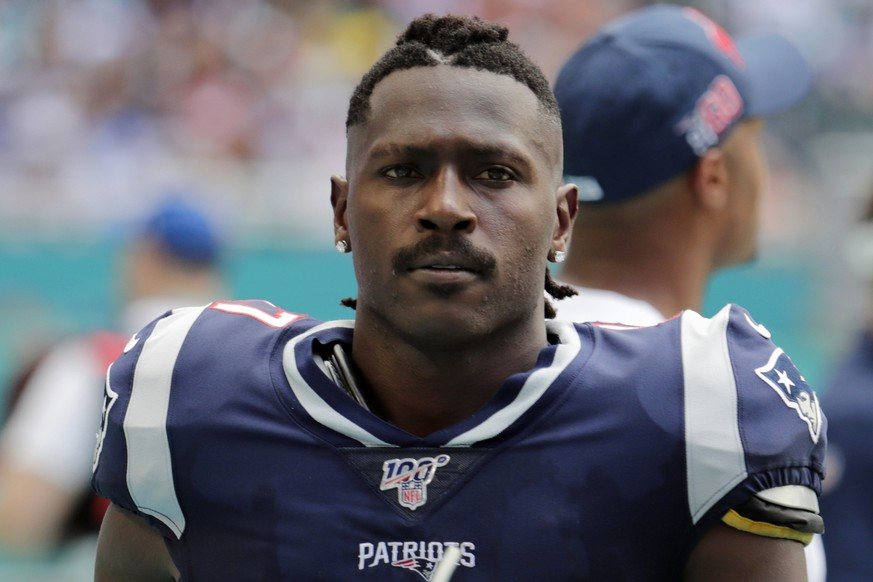 FILE - In this Sunday, Sept. 15, 2019, file photo, New England Patriots wide receiver Antonio Brown (17) on the sidelines,during the first half at an NFL football game against the Miami Dolphins in Miami Gardens, Fla. The Patriots released Brown on Friday, Sept. 20, 2019. (AP Photo/Lynne Sladky, File) Antonio Brown