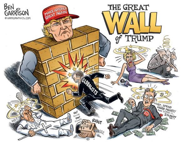 Trump gewinnt die Wahl zum Präsidenten: Seine Gegner rannten bei ihm gegen eine Wand. <i>Bild: Ben Garrison für GRRRGRAPHICS.com</i>