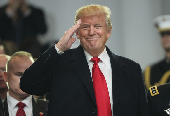 epa08656190 US President Donald J. Trump salutes from the reviewing stand during the Inaugural Parade after he was sworn in as the 45th President of the United States in Washington, DC, USA, 20 January 2017 (reissued 09 September 2020). Christian Tybring-Gjedde, an MP of the Norwegian parliament, in a statement to Fox News, said he has nominated Trump for the 2021 Nobel Peace Prize, citing his efforts to solve worldwide conflicts.  EPA/JUSTIN LANE *** Local Caption *** 53263291
