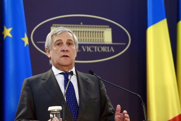 epa07181130 Antonio Tajani, President of the European Parliament, talks during a media briefing after meeting Romanian government members at the government headquarters in Bucharest, Romania, 21 November 2018. Tajani is on a one-day official visit to Romania, for the Meeting of the Conference of Presidents of the European Parliament and the Government of Romania, being accompanied by the EU Parliament secretary-general, Klaus Welle, and by the leaders of the nine European political groups. Romania is preparing to take the Presidency of the Council of the European Union for six months, starting on 01 January 2019.  EPA/BOGDAN CRISTEL