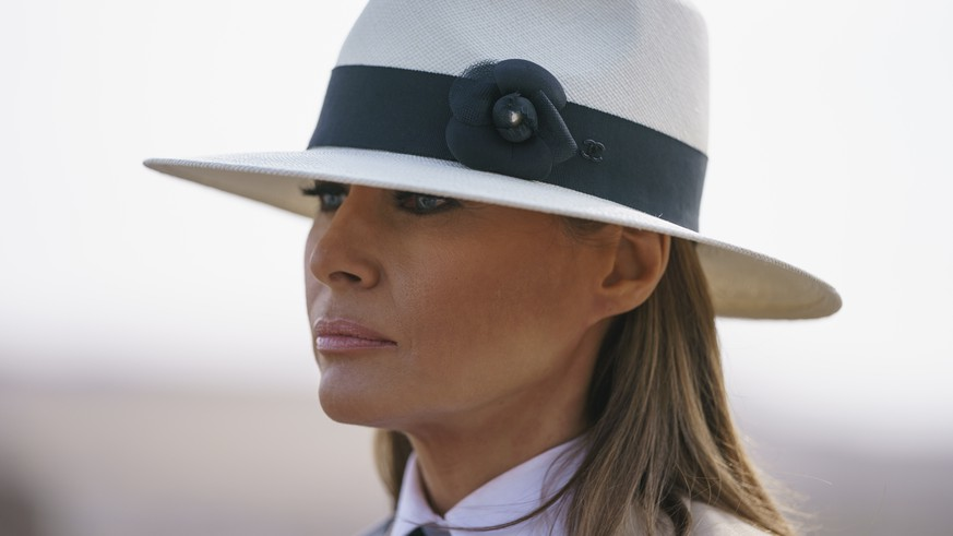 In this Oct. 6, 2018 photo, First lady Melania Trump pauses as she speaks to media during a visit to the historical Giza Pyramids site near Cairo, Egypt. First lady Melania Trump says she thinks she's among the most bullied people in the world and there are people in the White House she and President Donald Trump can't trust.  (AP Photo/Carolyn Kaster)
