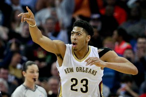 Feb 2, 2015; New Orleans, LA, USA; New Orleans Pelicans forward Anthony Davis (23) reacts after a basket against the Atlanta Hawks during the third quarter of a game at the Smoothie King Center. The Pelicans defeated the Hawks 115-100. Mandatory Credit: Derick E. Hingle-USA TODAY Sports