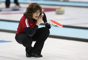 Team Switzerland skip Mirjam Ott shouts instructions to teammates during the first day of curling training at the 2014 Winter Olympics, Saturday, Feb. 8, 2014, in Sochi, Russia. (AP Photo/Robert F. Bukaty)