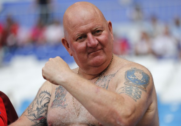 An England fan looks on prior the quarterfinal match between Sweden and England at the 2018 soccer World Cup in the Samara Arena, in Samara, Russia, Saturday, July 7, 2018. (AP Photo/Frank Augstein)