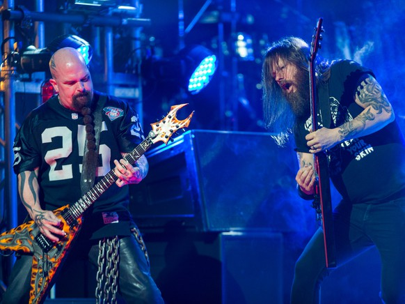 Kerry King, left, and Gary Holt of Slayer perform at the 6th Annual Revolver Golden Gods Award Show at Club Nokia on April 23, 2014 in Los Angeles, California. (Photo by Paul A. Hebert/Invision/AP)
