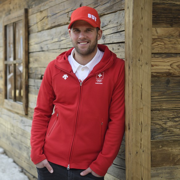Marc Bischofberger of Switzerland poses during a media conference of the Swiss Ski Cross team in the House of Switzerland during the XXIII Winter Olympics 2018 in Pyeongchang, South Korea, on Monday, February 19, 2018. (KEYSTONE/Gian Ehrenzeller)