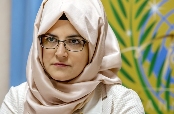 Hatice Cengiz, the fiancee of murdered Saudi journalist Jamal Khashoggi, speaks to journalists from ACANU (Association of the Accredited Correspondents to the United Nations) at the European headquarters of the United Nations in Geneva, Switzerland, wednesday, June 26, 2019. (Magali Girardin/Keystone via AP)