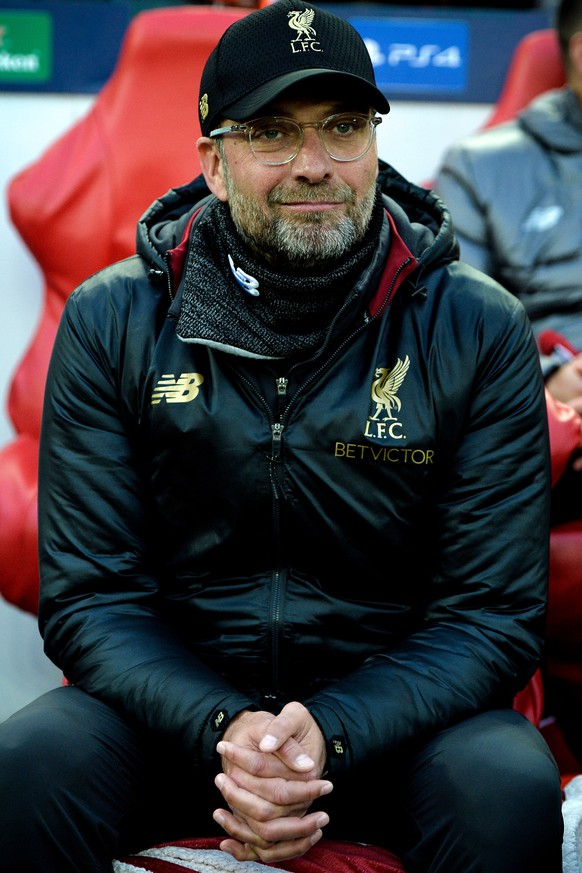epa07554440 Liverpool's head coach Juergen Klopp reacts prior to the UEFA Champions League semi final second leg soccer match between Liverpool FC and FC Barcelona at Anfield stadium in Liverpool, Britain, 07 May 2019.  EPA/PETER POWELL