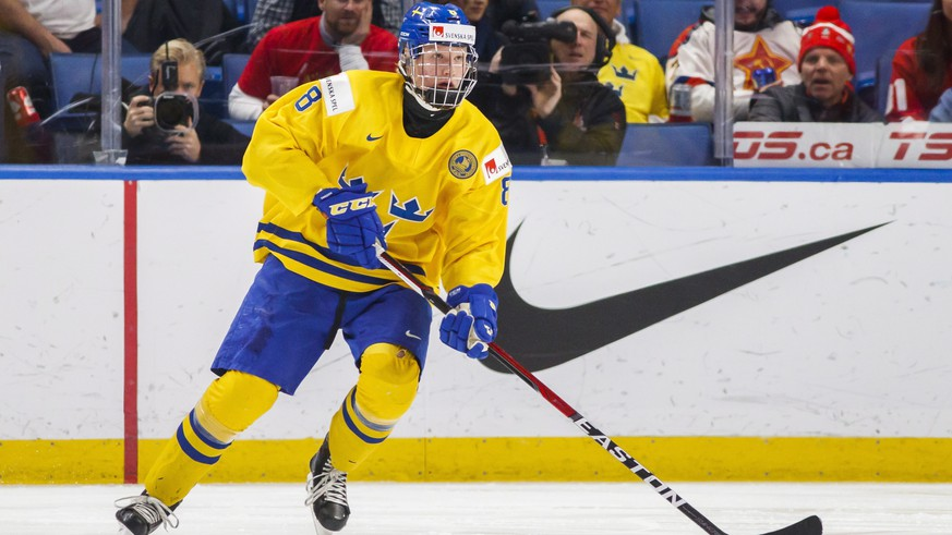 Sweden's Rasmus Dahlin skates during the second period of an IIHF world junior hockey championships game against Russia in Buffalo, N.Y., Sunday, Dec. 31, 2017. (Mark Blinch/The Canadian Press via AP)