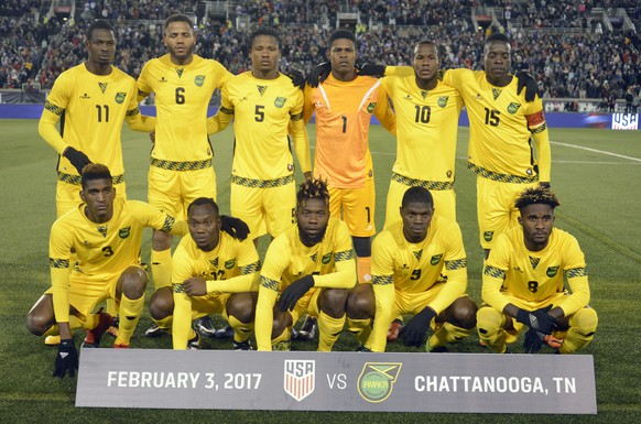 Jamaica players line up for a photo before a friendly soccer match against the United States on Friday, Feb. 3, 2017, in Chattanooga, Tenn. (AP Photo/Billy Weeks)