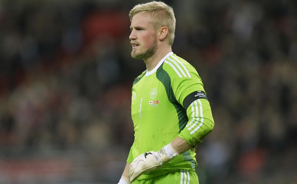 Denmark's Kasper Schmeichel reacts during their international friendly soccer match against England at Wembley stadium in London March 5, 2014.    REUTERS/Toby Melville  (BRITAIN - Tags: SPORT SOCCER)