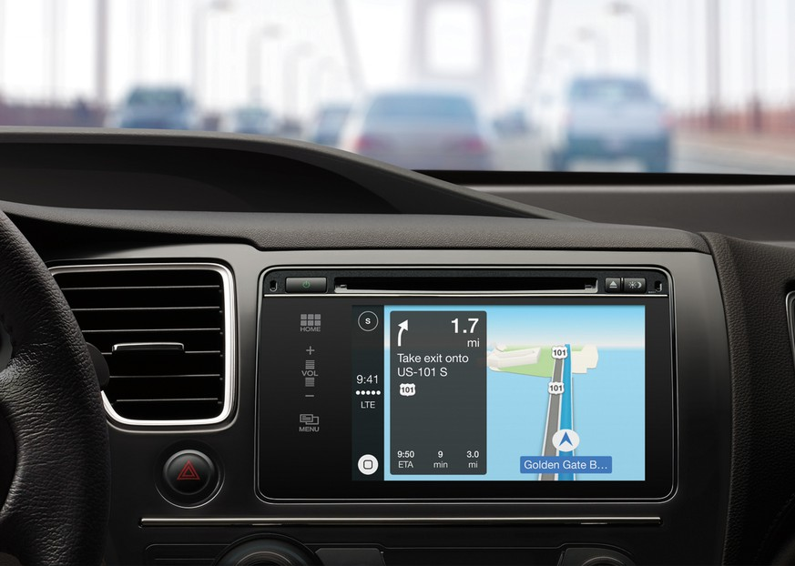 This image provided by Apple shows Apple Maps in a car equipped with CarPlay technology. Apple Maps quickly became the butt of jokes when it debuted in 2012.  But Apple fixed errors and now the company added transit directions for several major cities, narrowing a major gap with Google. (Apple via AP)