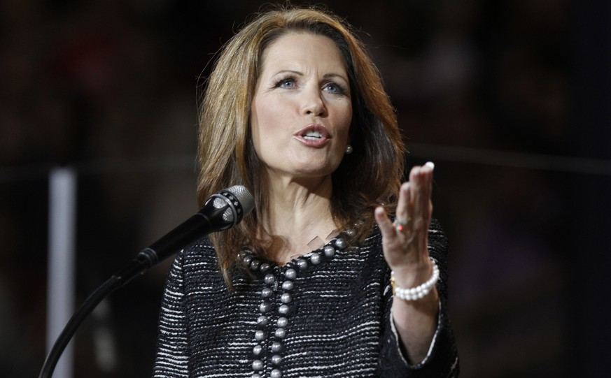 In this Sept. 28, 2011 photo, U.S. REp. Michelle Bachmann, R-Minn.,  gestures during a speech at Liberty University  in Lynchburg, Va. Bachmann on Thursday, May 10, 2012 said she sent a letter to the Swiss Consulate asking for withdrawal of her Swiss citizenship. She said she wanted to make clear she is 100 percent committed to the United States. (AP Photo/Steve Helber, File)