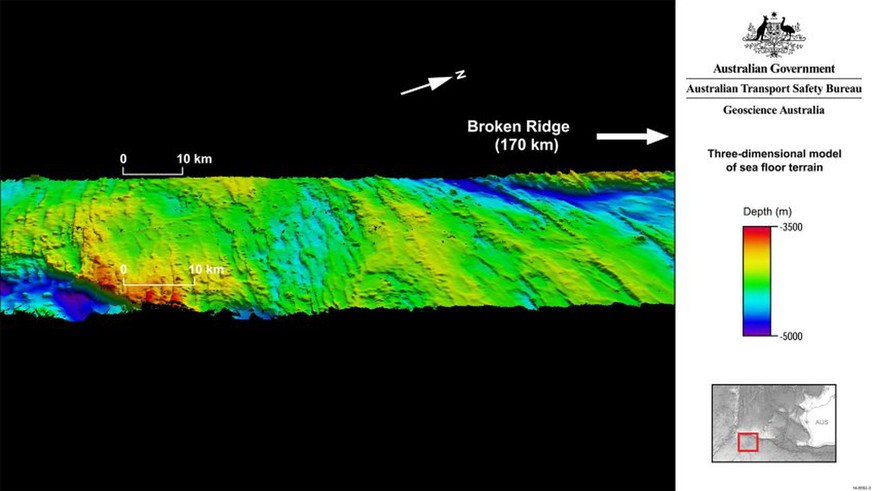 A handout image obtained from Geoscience Australia on September 27, 2014, shows the the MH370 search area encompassing the seabed on and around Broken Ridge, an extensive linear, mountainous sea floor structure that once formed the margin between two geological plates.  Remnants of volancoes, towering ridges and deep trenches have been discovered on the seabed of the southern Indian Ocean by experts mapping the underwater terrain as part of the search for missing Malaysian Airlines flight MH370.  AFP PHOTO/GEOSCIENCE AUSTRALIA  ----EDITORS NOTE ----RESTRICTED TO EDITORIAL USE MANDATORY CREDIT