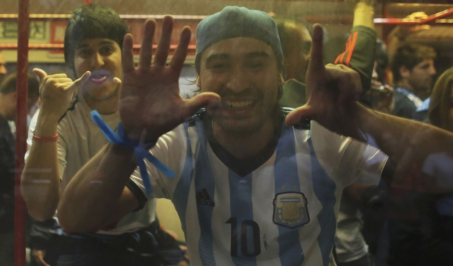 An Argentina fan shows